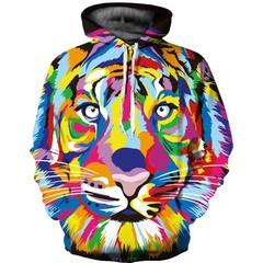 Толстовка утепленная  3D принт, Тигр (3Д Теплые Худи Tiger) 01