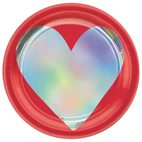 Тарелки малые День Сердец, 8 штук