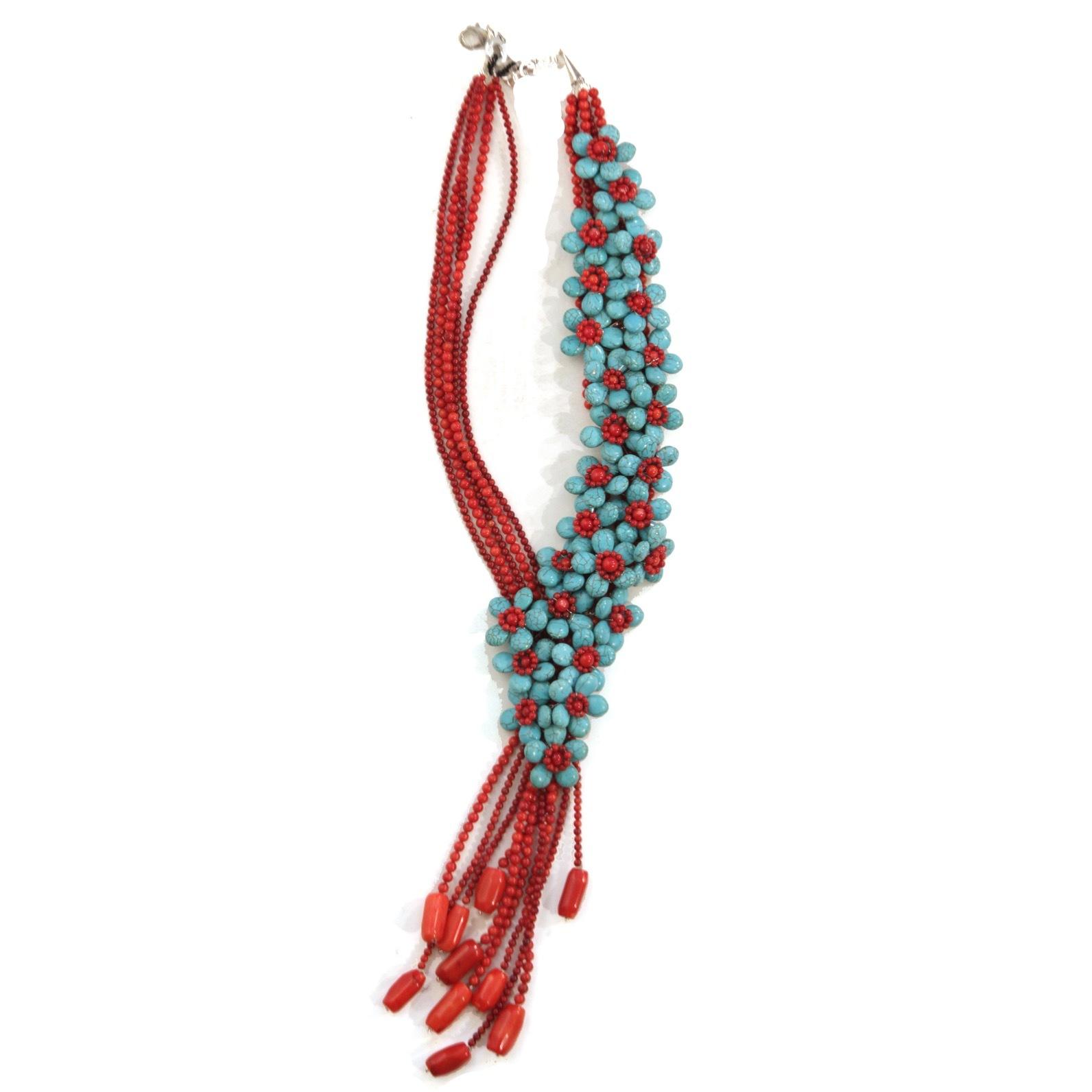Ожерелье из бирюзы и кораллов OTTAVIANI