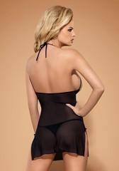 Сорочка черная с кружевными вставками на груди