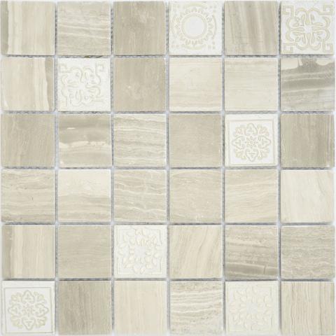 Мозаика LeeDo: Art Travertino silver матовая 30х30х0,8 см (чип 48х48х8 мм)