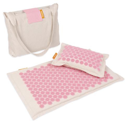 Набор массажный акупунктурный коврик + подушка Comfox Premium (розовый)