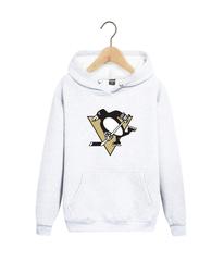 Толстовка белая с капюшоном (худи, кенгуру) и принтом НХЛ Питтсбург Пингвинз (NHL Pittsburgh Penguins) 007