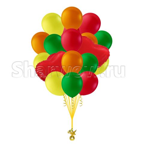 Букет разноцветных шаров с красными сердцами Москва