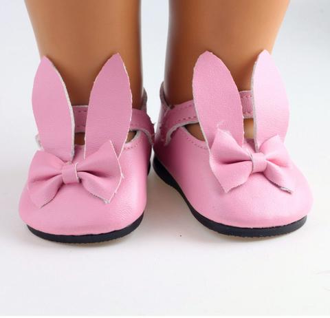 Взуття для ляльки. Туфлі з ремінцем  та вушками зайченя для ляльки - рожеві.