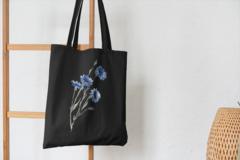 Сумка-шоппер с принтом Цветы (Васильки) черная 001