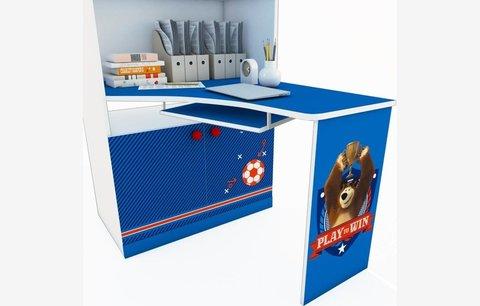 Стеллаж двухсекционный Polini kids Fun 1230 Маша и Медведь со столом, синий