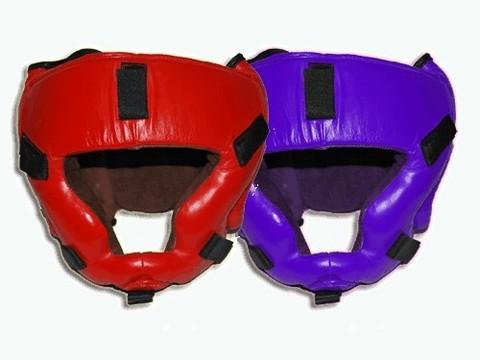 Шлем для КУДО закрытый, регулируется липучками на затылке и шнуровкой сверху, застежки под маску. Натуральная кожа.   р-р L :(61-65 L):
