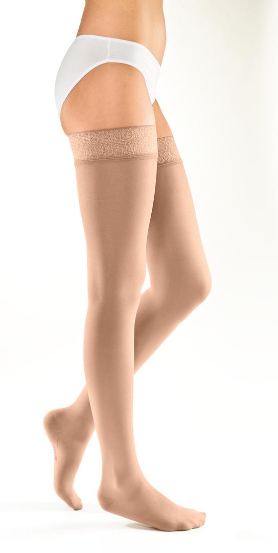 Чулки Чулки с кружевной силиконовой резинкой на широкое бедро mediven elegance Карамель.jpg