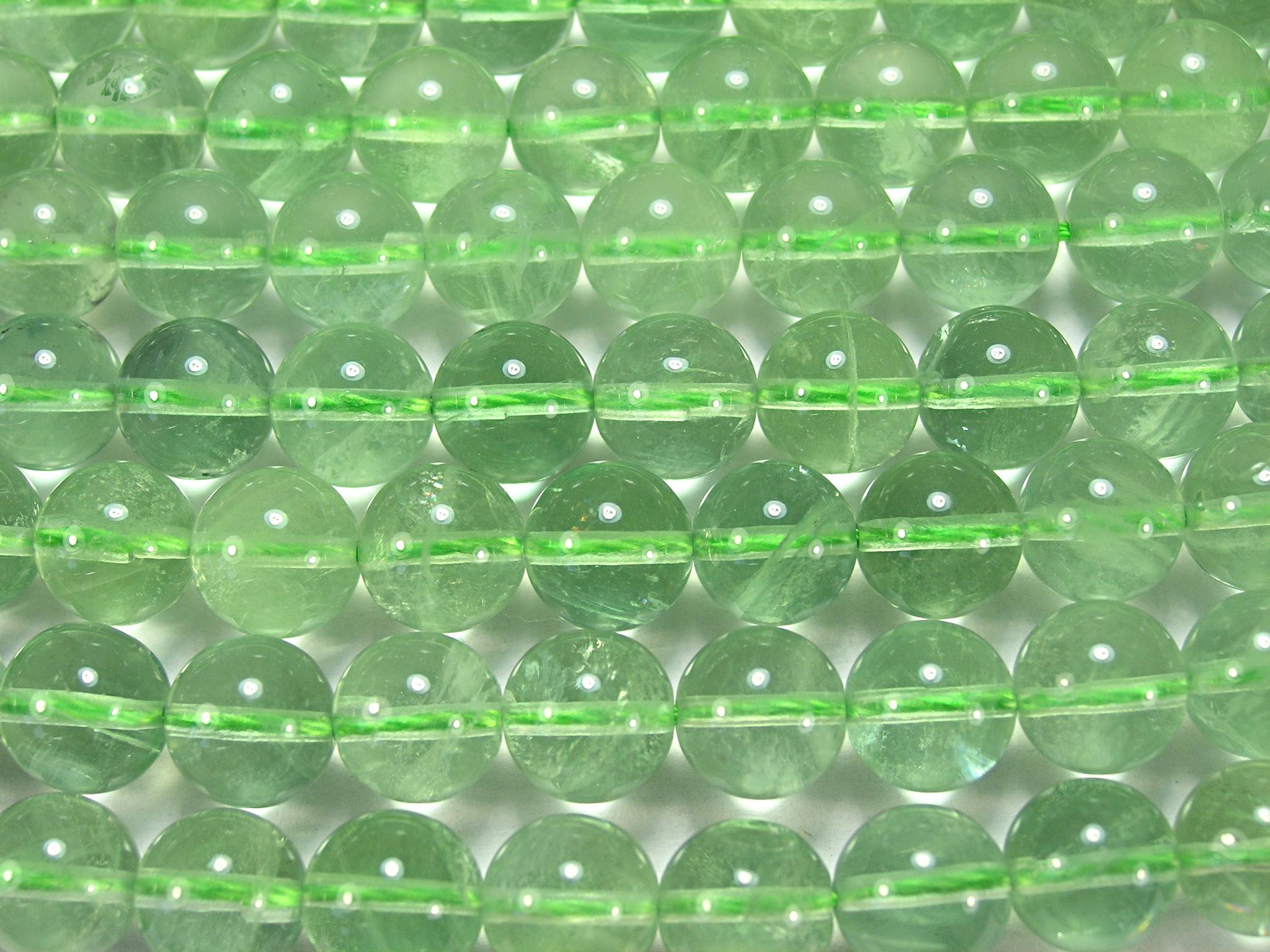 Нити бусин из флюорита зеленого, шар гладкий 10мм (оптом)