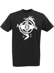 Футболка с однотонным принтом Дракон (Dragon) черная 004
