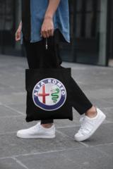 Мужская сумка-шоппер с принтом Альфа Ромео (Alfa Romeo) черная 001