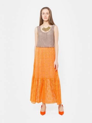 Фото модное летнее комбинированное кружевное платье макси со сборками - Платье З280а-443 (1)