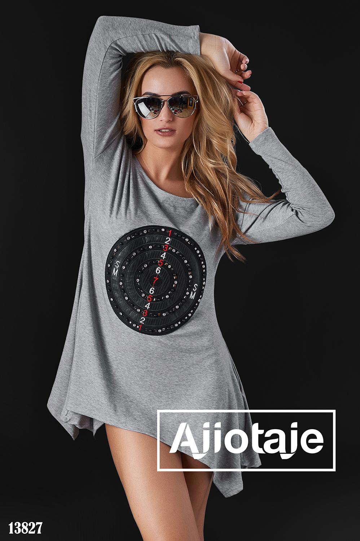 Платье-туника с асимметрией серого цвета