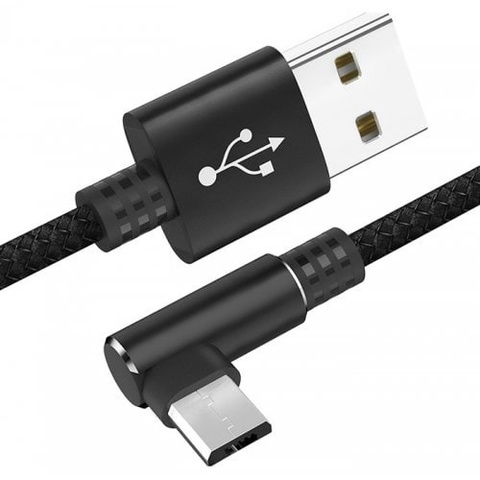 Кабель угловой USB A - USB Type-C 25 см (черный тканевый)