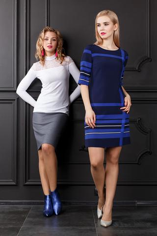 Фото полуприлегающее платье синего цвета с яркими полосами - Платье З297-117 (1)