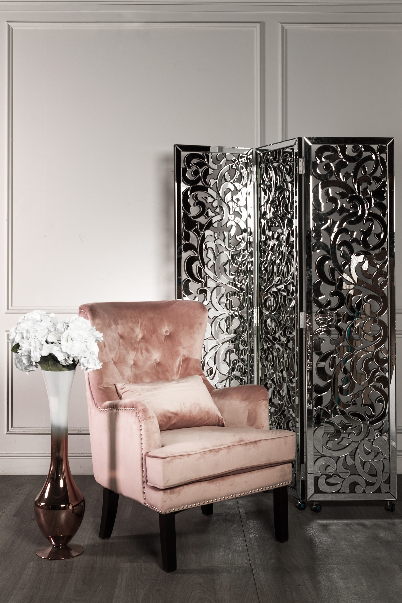 Кресло велюровое дымчато-розовое (с подушкой) (24YJ-7004-06418/1) Garda Decor