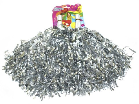 Помпоны для черлидинга металлизированные. Цвет серебро. Ручка пластмассовая: длина 10 см, диаметр 2 см. SLB-40СЕ