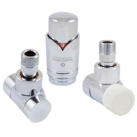 Комплект Lux термостатический Хром Форма угловая. Для меди GZ 1/2 x 15x1