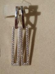 Серьги-линия из серебра с фианитами