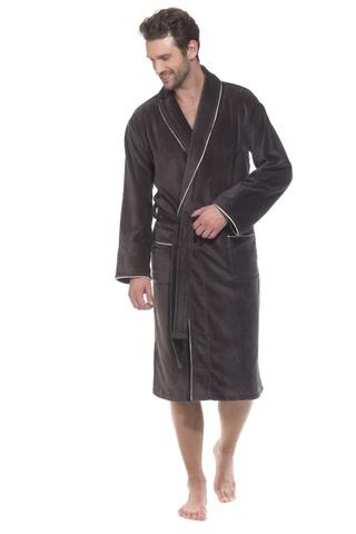 Elegant 1588 темно-серый  махровый  мужской халат  PECHE MONNAIE   Россия