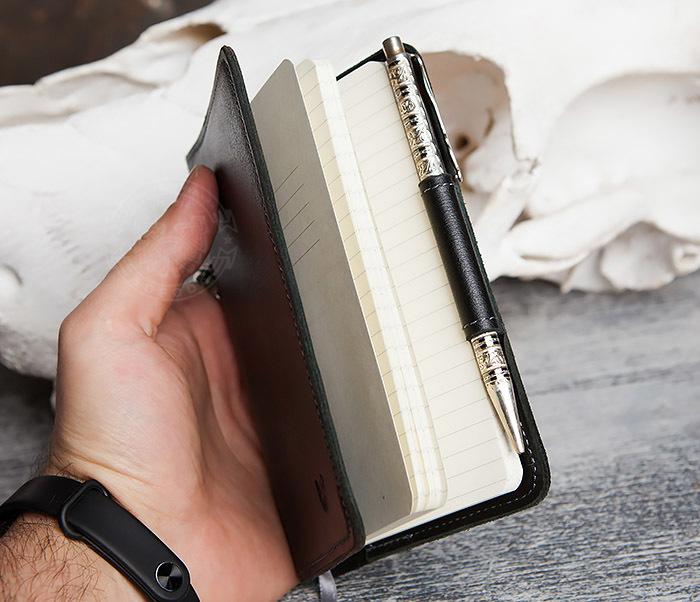 BC136-1 Кожаный блокнот ручной работы со сменным блоком (А6) фото 11