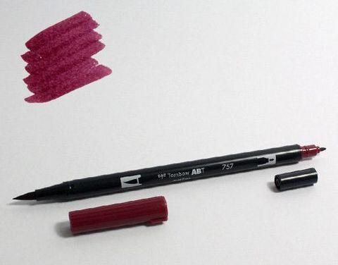 Маркер-кисть Tombow ABT Dual Brush Pen-757, рубиновый портвейн