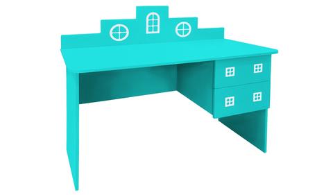 детский письменный стол в виде домика голубой