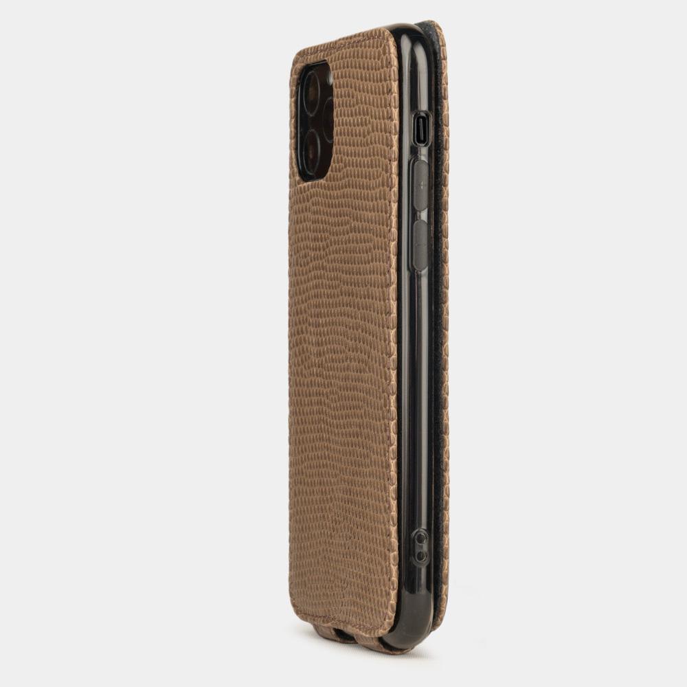 Special order: Чехол для iPhone 11 Pro из натуральной кожи ящерицы, цвета кофе лак