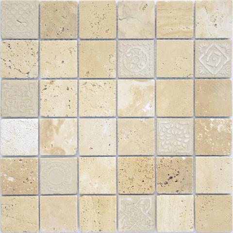 Мозаика LeeDo: Art Travertino beige матовая 30х30х0,8 см (чип 48х48х8 мм)