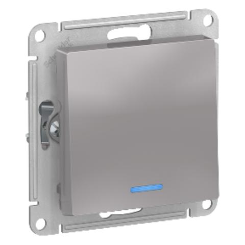1-кл Выключатель с подсветкой, 10АХ. Цвет Алюминий. Schneider Electric AtlasDesign. ATN000313