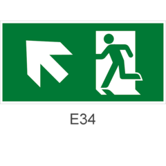 Направление к эвакуационному выходу налево вверх- знак эвакуационный Е34