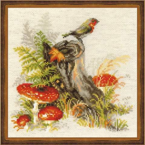 Набор для вышивания крестом «Пенек с мухоморами» (1545)