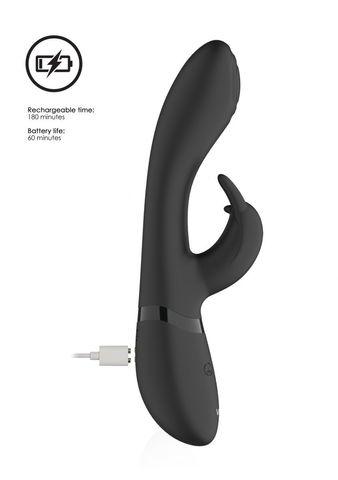 Черный вибромассажер-кролик Cato - 21,5 см.