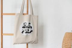 Сумка-шоппер с принтом Криминальное чтиво, Винсент Вега, Джулс Уиннфилд (Pulp Fiction) бежевая 0011