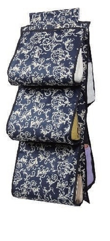 Подвесной органайзер для хранения женских сумок, 5 карманов (темно-синий с узорами)