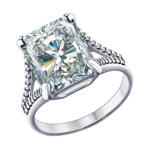 94012028 - Кольцо из серебра с крупным фианитом