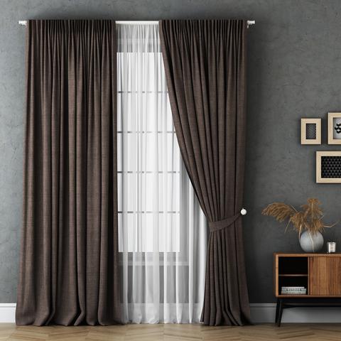 Комплект штор и тюль Бруни коричневый