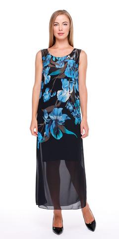 Фото длинное черное платье с цветочным принтом и разрезами - Платье З034-168 (1)