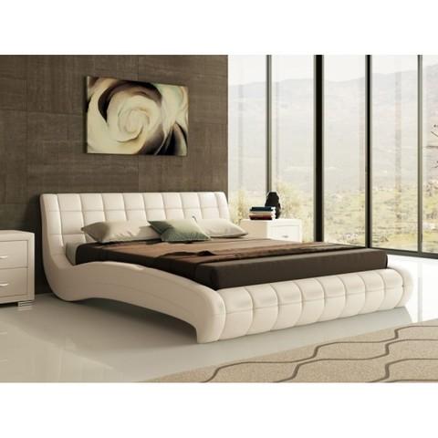Кровать двуспальная Nuvola 1 (Нувола 1) Экокожа молочный перламутр