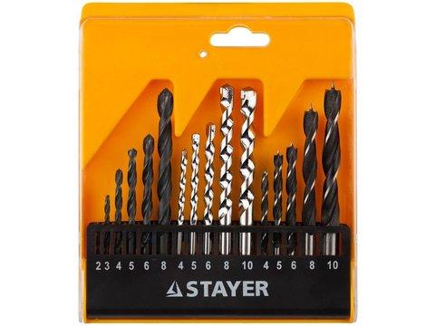 STAYER дерево (4-5-6-8-10мм), металл (2-3-4-6-8мм), бетон (4-5-6-8-10мм), сверла комбинированные