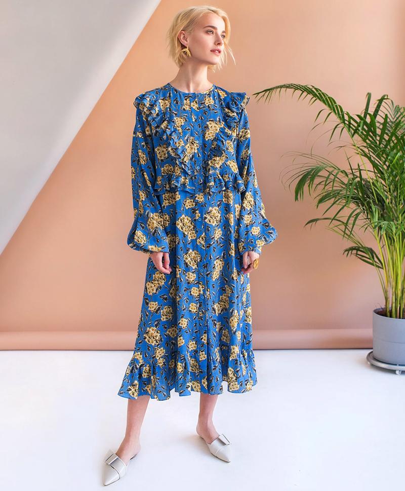 Голубое платье с рюшами из вискозы