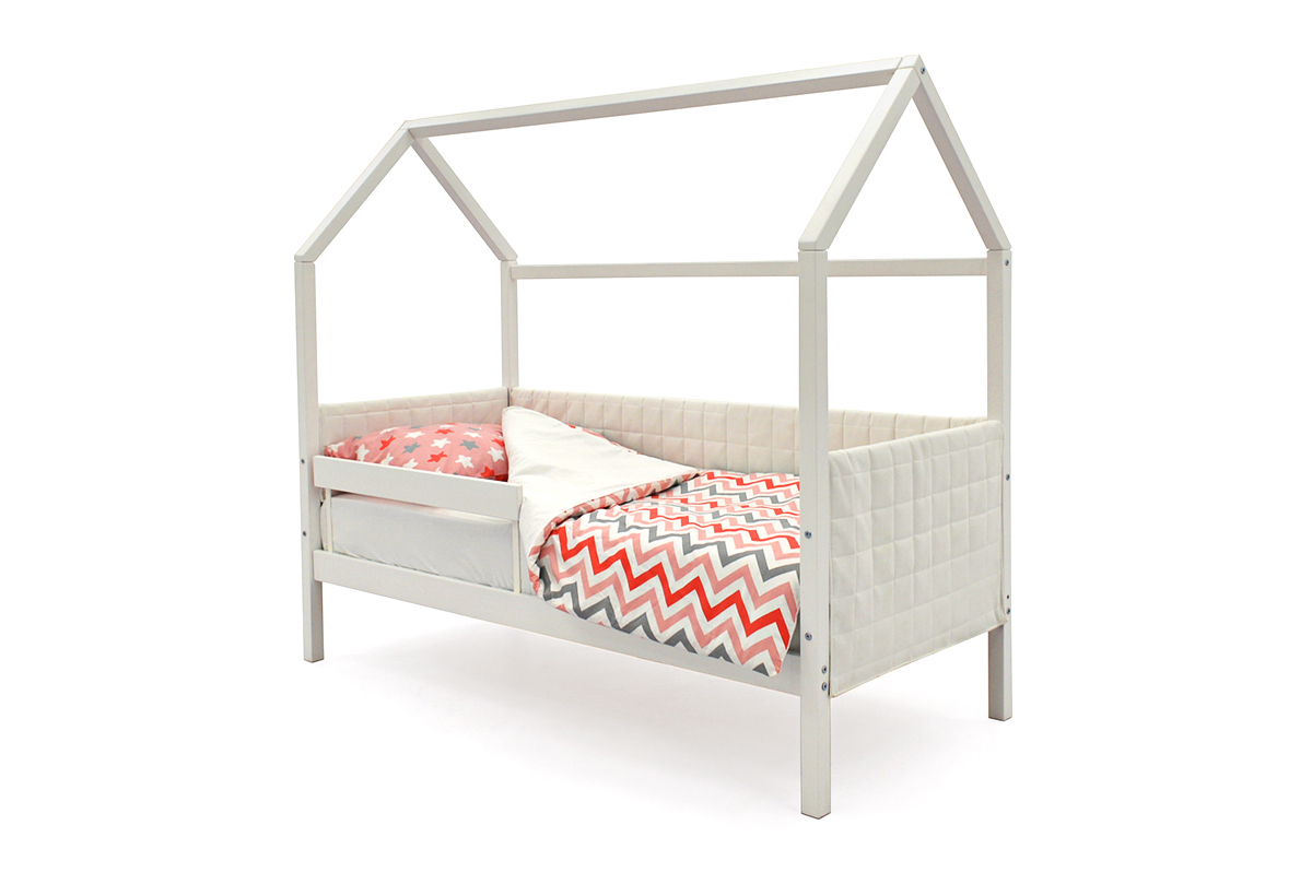 Кровать-домик мягкий «Svogen белый»