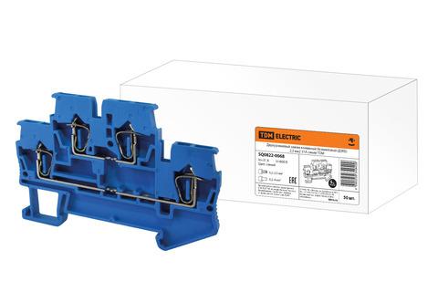 Двухуровневый зажим клеммный безвинтовой (ДЗКБ) 2,5 мм2 31А синий TDM