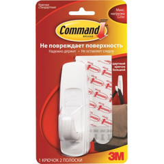 Крючок Command белый, нагрузка до 2.25 кг (1 штука + 2 клейких полоски 17003-CIS)