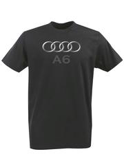 Футболка с принтом Ауди A6 (Audi A6) черная 003