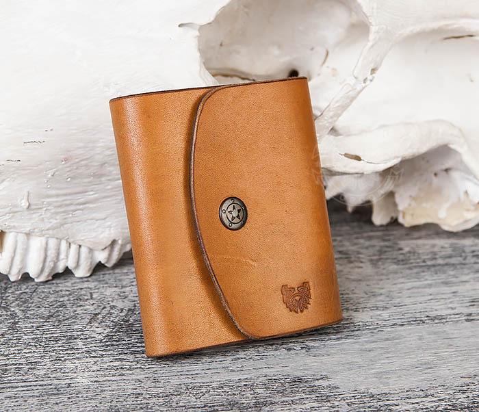 WB166-2 Коричневый кожаный маленький кошелек ручной работы фото 02
