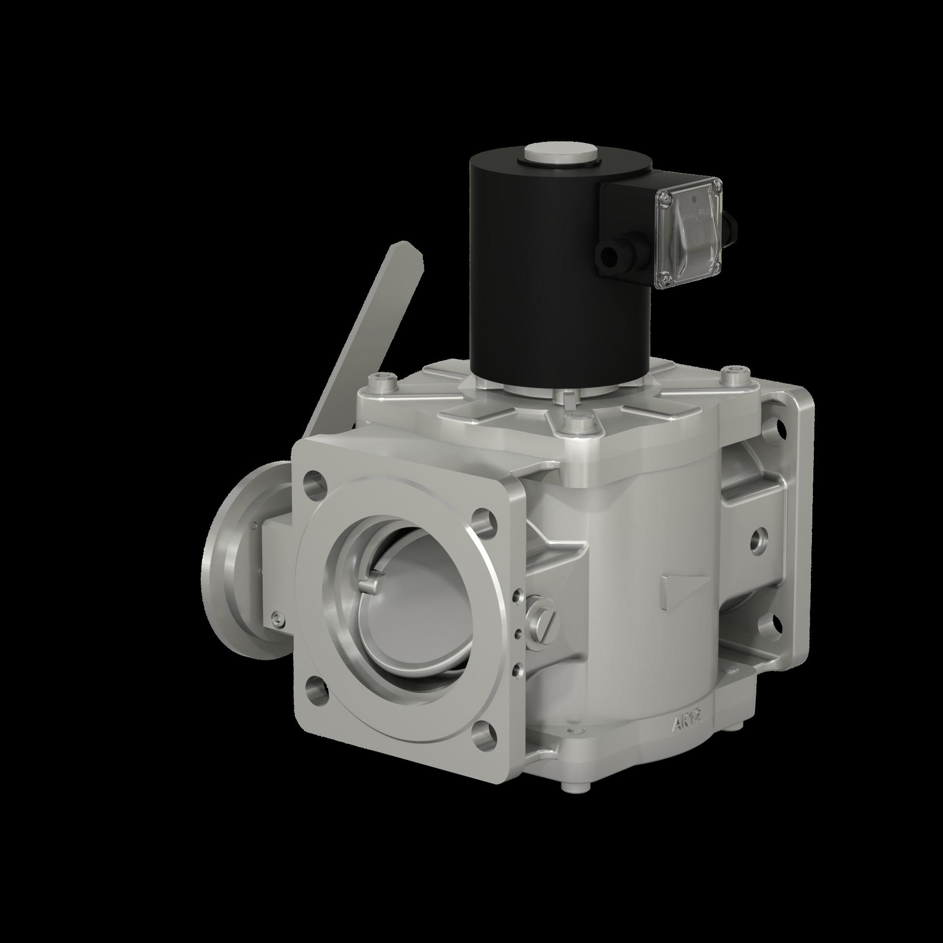 Клапаны электромагнитные двухпозиционные фланцевые с ручным регулятором расхода на DN 40, 50 (на давление до 0,6 МПа) и на DN 65 - 100