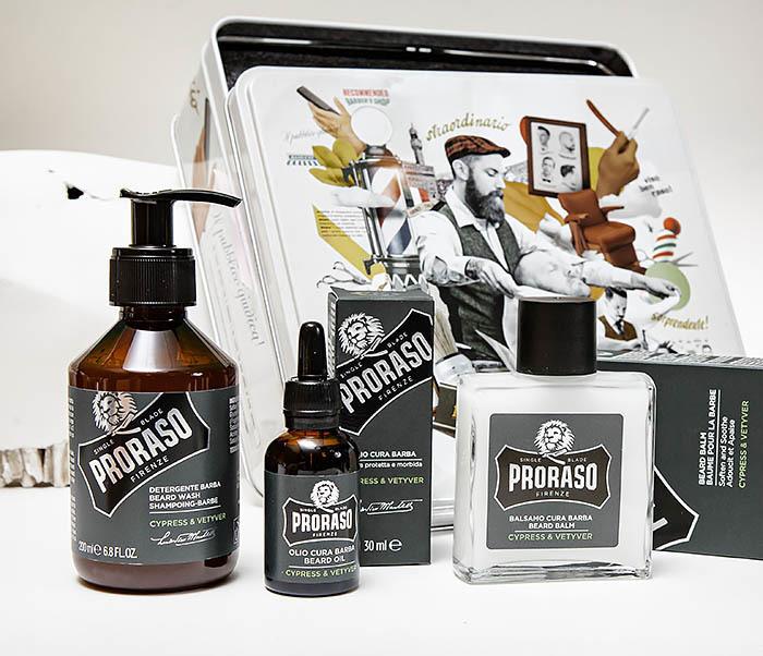 CARE142 Набор для бороды PRORASO «CYPRESS & VETYVER» шампунь, бальзам и масло фото 05