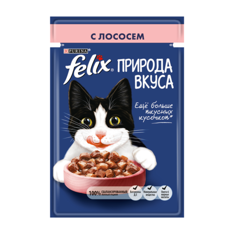 Felix Консервы для взрослых кошек Природа вкуса с Лососем (Пауч)